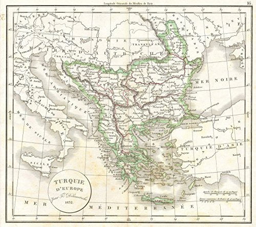 Vintage1832 Delamarche Map of Greece and the Balkans - 24 x 22in Fine Art (Delamarche Map)