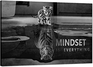 """Black and White Small Cat Big Tiger Posters Inspirational Wall Art Motivational Posters Inspiring Entrepreneur Quotes Mindset is everything Pictures Home Decor for Office Classroom Gym (24""""Hx36""""W)"""