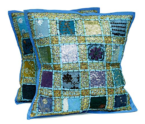 DIYANA IMPEX 2 Blue Embroidery Sequin Patchwork Indian Sari Throw Pillow Cases Cushion Covers