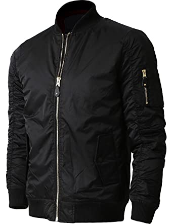 Mens MA-1 Bomber Jacket Lightweight Active Biker Flight Outwear 1KSA0017  (Sk17 Black 9ec30dc1bb9