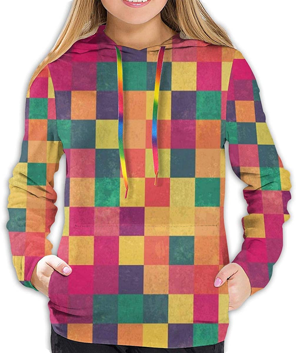 Womens Hoodies Tops,Vintage Geometric Style Pattern with Colorful Grunge Design Squares Graphic,Lady Fashion Casual Sweatshirt
