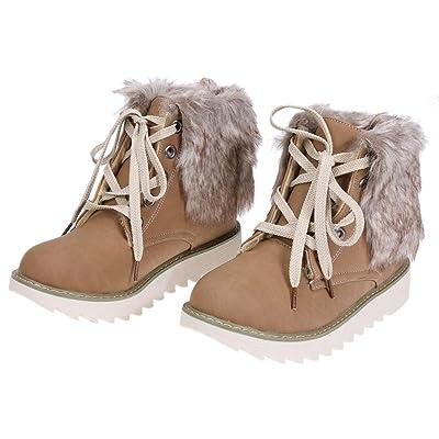 amazingdeal PU Winter Short Plush Flat Ankle Boot Women Platform Boot Warm Snow Boots