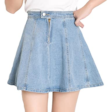 NiSeng Femme Casual Taille Haute A-Line Mini Jupe en Jeans Mode Corée Style  Jupe 22755976ef5b