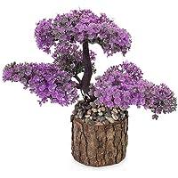 Taşlı Kütükte Minyatür Yapay Ağaç Mor