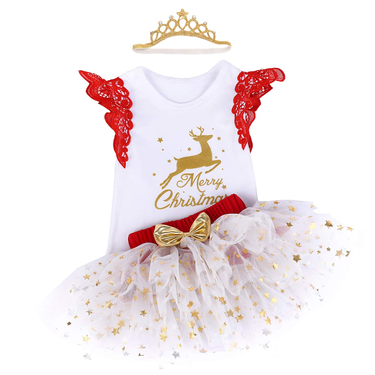 Baby Girls My First 1st Christmas Birthday Outfits Romper Stars Tutu Skirt with Headband Lace Sleeveless Bodysuit Ruffle Tulle Dress Newborn Infant Toddler Princess Xmas Fancy Dress Up Party Costume