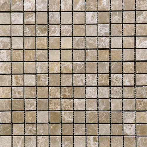 Emperador Light 1x1 Tumbled Aged Marble Mosaic Tile Wall ()