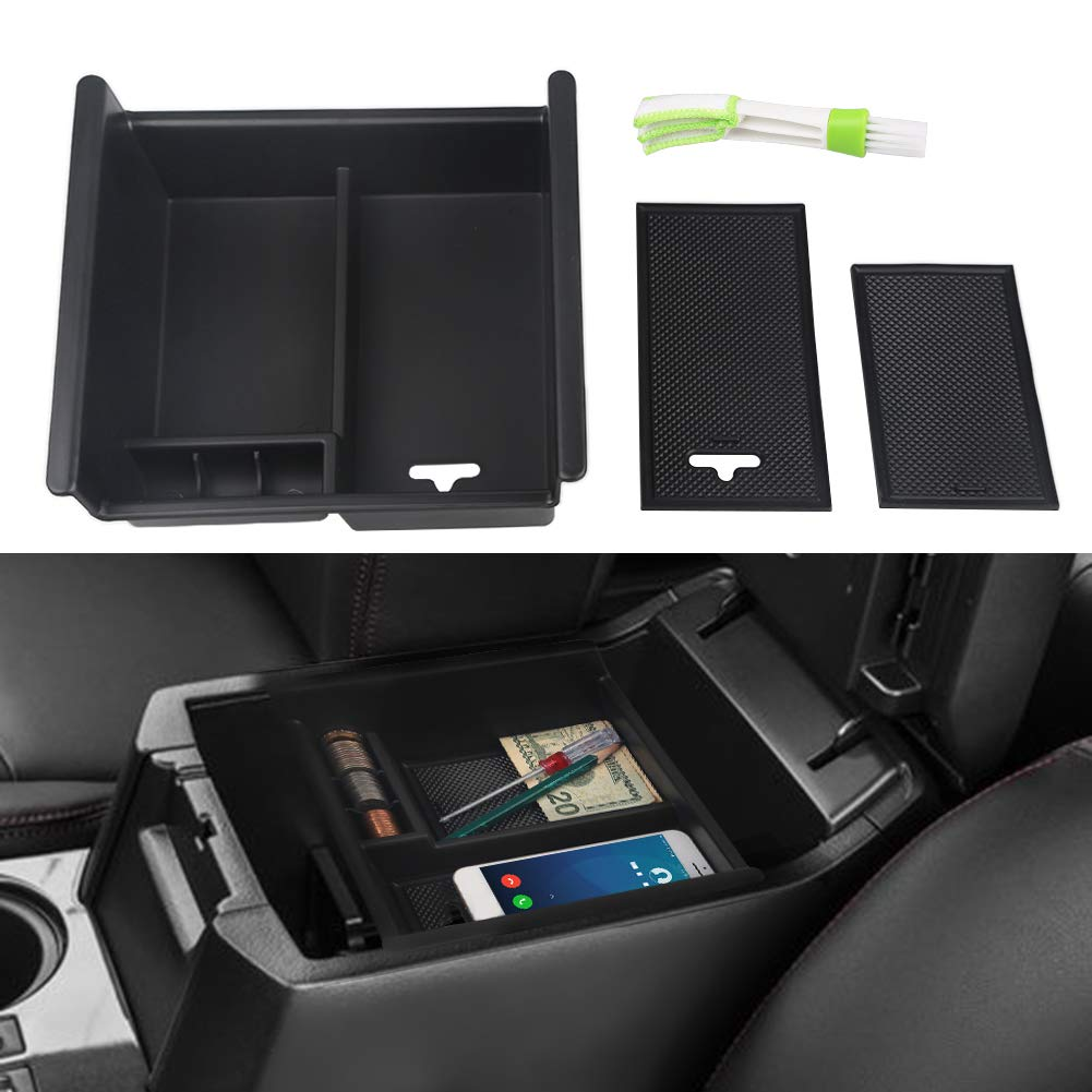 VANJING Center Console Organizer Insert Tray for 2010 2011 2012 2013 2014 2015 2016 2017 Toyota 4 Runner Accessories with USB Hole Center Armrest Secondary Storage Box with A Cleaner Brush