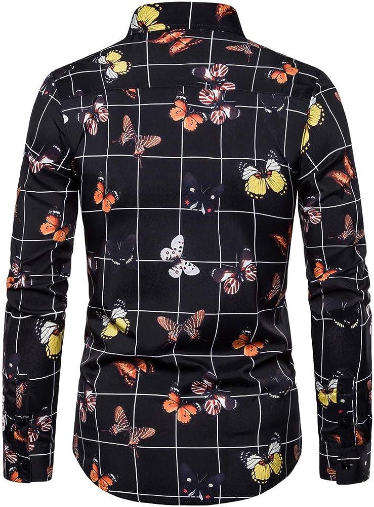 Chickwin Hombre Casual Mariposa Manga Larga Camisa de ...