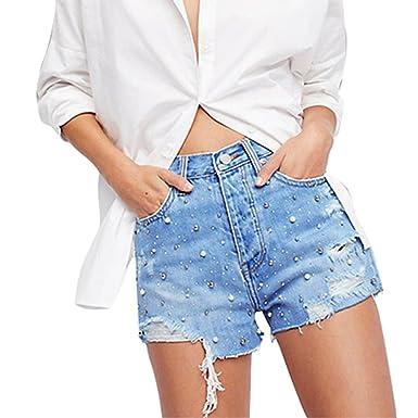 e6e055ee0bc5a8 Juqilu Sexy Jeans Shorts für Damen - Kurze Denim Hosen Casual Kurz Jeans  Niet Perle Hot