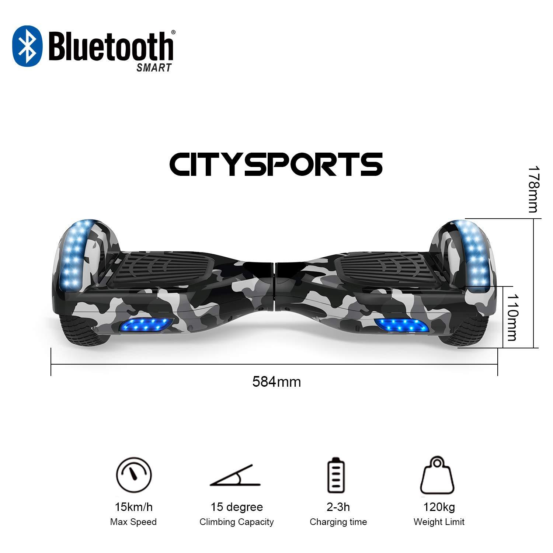CITYSPORTS Balance Board 6.5 Pulgadas, Balance Board Patinete Eléctrico 2x350W LED, E-Scooter+Hoverkart