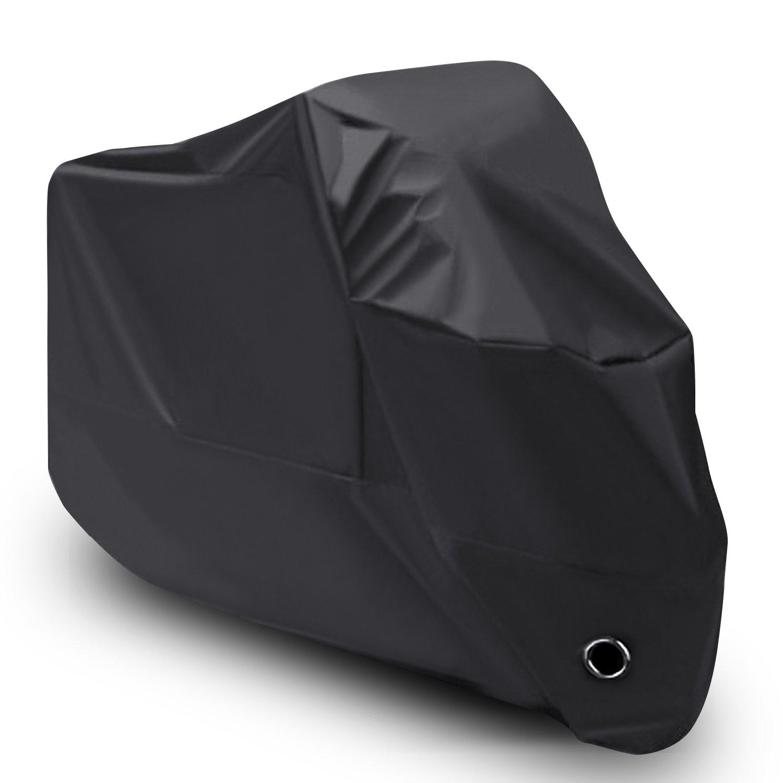 [Versione Migliorata] LIHAO Telo Coprimoto Impermeabile in 210D Oxford Tessuto Scooter Moto Copri - Colore: Nero
