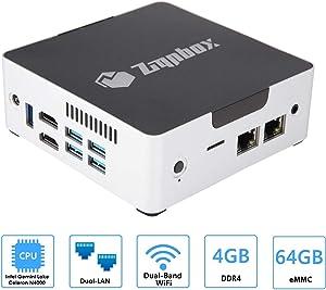 Zignbox GL0264 Fanless Mini PC Intel Gemini Lake N4000 CPU Up to 2.6GHz 4GB RAM 64GB eMMC Dual HDMI Dual LAN NO OS (64GB + NO OS) Tall
