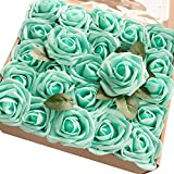 robin egg blue Ling's moment Artificial Flowers 50pcs Real Looking Robin's Egg Blue Fake Roses w/Stem for DIY Wedding Bouquets Centerpieces Bridal Shower Party Home Decorations