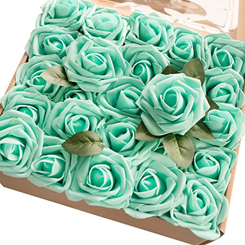 Ling's moment Artificial Flowers 50pcs Real Looking Robin's Egg Blue Fake Roses w/Stem for DIY Wedding Bouquets Centerpieces Bridal Shower Party Home Decorations