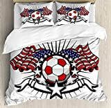 Sports Decor King Size Duvet Cover Set by Ambesonne, Stars and Stripes Patriotic American Soccer with American Flags, Decorative 3 Piece Bedding Set with 2 Pillow Shams