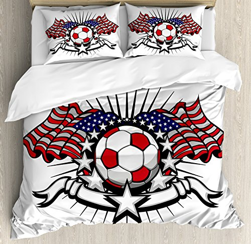 Sports Decor King Size Duvet Cover Set by Ambesonne, Stars and Stripes Patriotic American Soccer with American Flags, Decorative 3 Piece Bedding Set with 2 Pillow Shams by Ambesonne