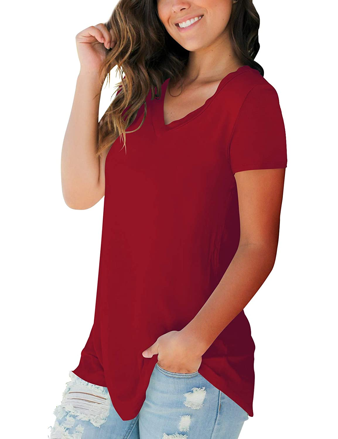 SMALOVY Womens Tops Short Sleeve V Neck T Shirts Summer Basic Tees with Pocket