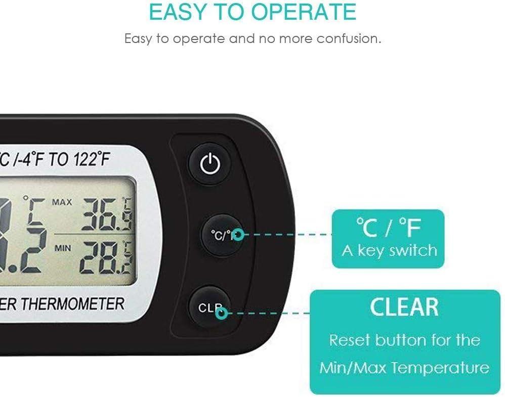 Blanco Winbang Term/ómetro Digital Term/ómetro para Refrigerador a Prueba de Humedad Refrigerador a Prueba de Agua Congelador Refrigerador Term/ómetro con Dise/ño de Gancho