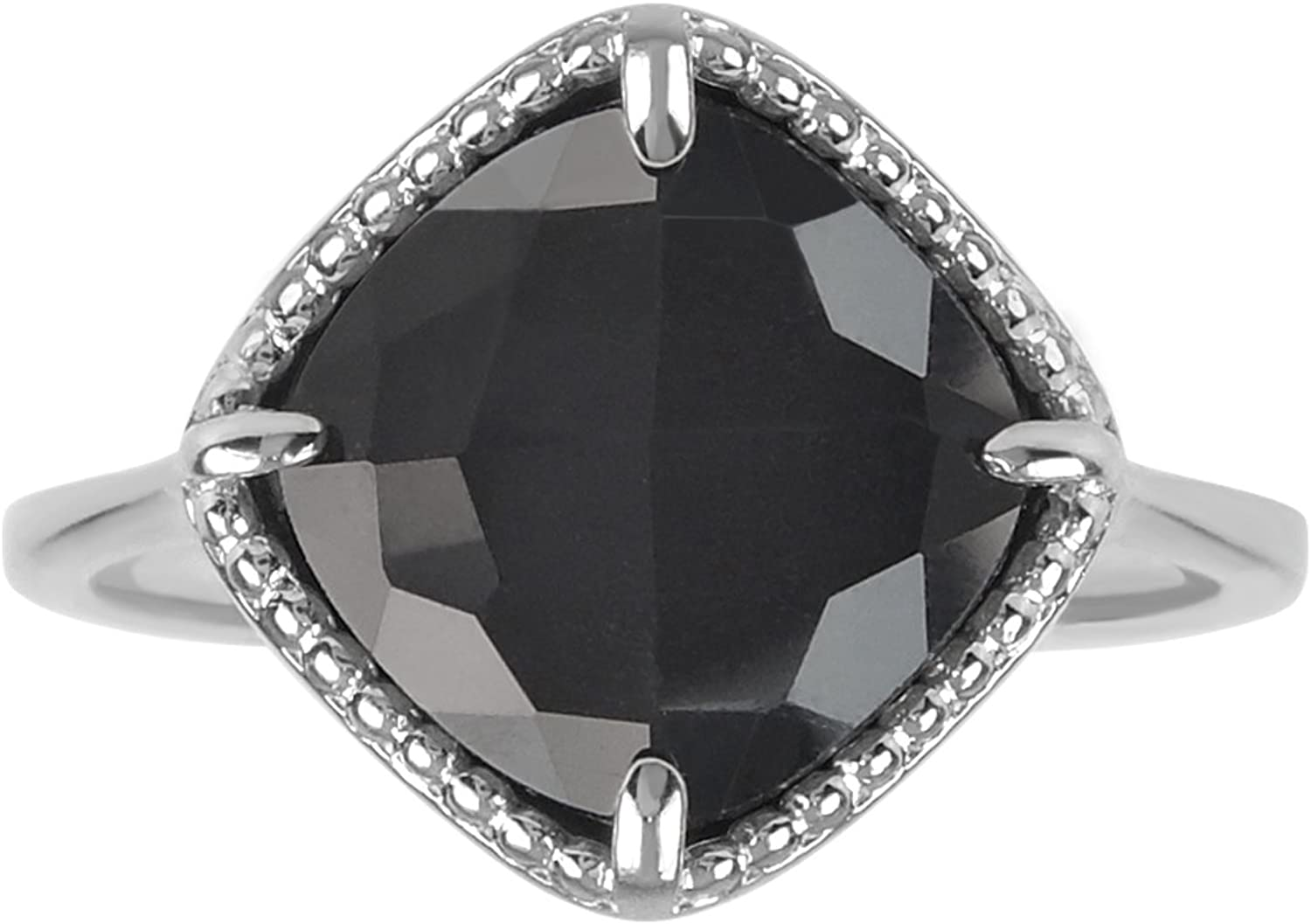AURA BY TJM 925 STERLING SILVER CUSHION SHAPE RING SET WITH 4.12 CTW, CHECKERBOARD CUT CRYSTAL & HEMATITE DOUBLET