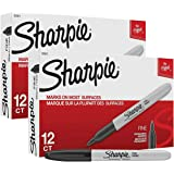 Sharpie Fine Point Permanent Markers, 24 Markers (2 X Box's of 12), Black (30051)