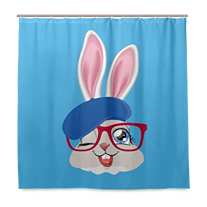Easter Shower Curtain Rabbit with Glasses Print for Bathroom