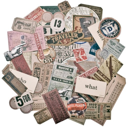 Expedition Ephemera Pack by Tim Holtz Idea-ology, 63 Pieces, Assorted Colors/Designs, TH93115 ()