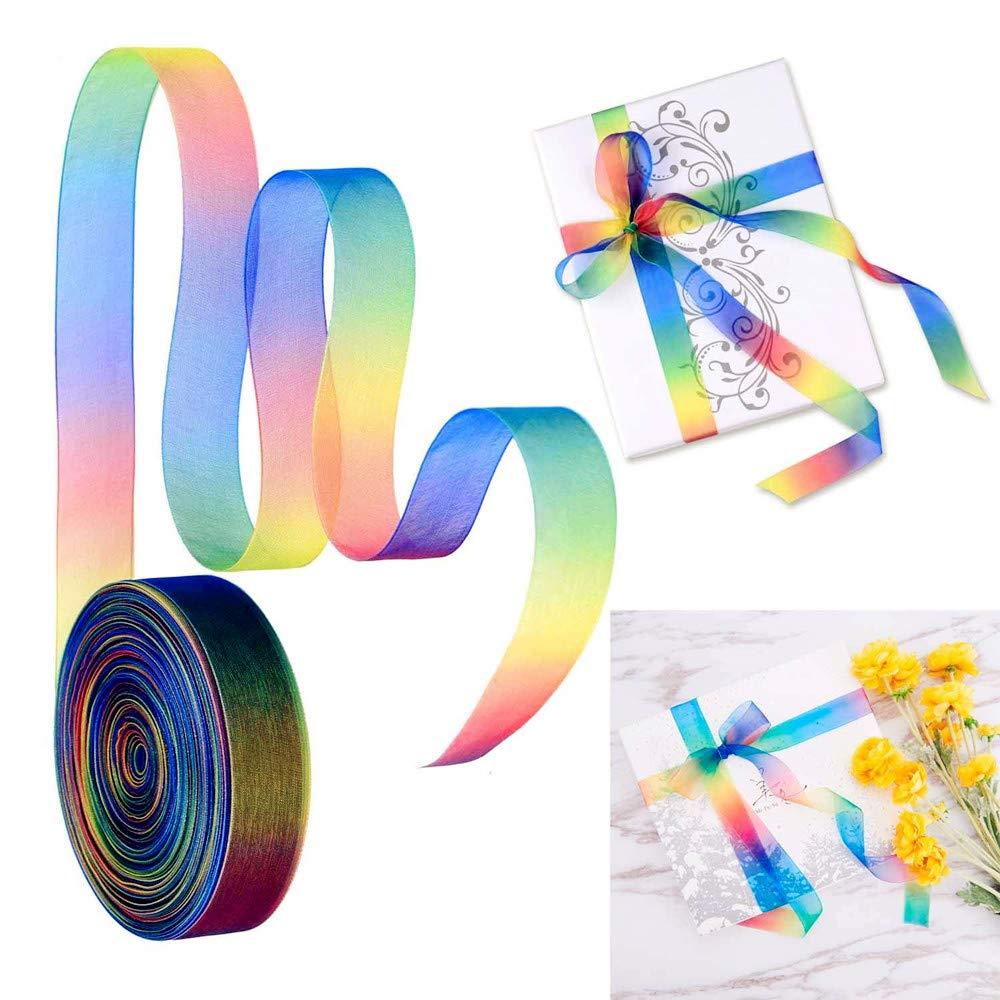 Ruban en organza transparent aux couleurs de larc-en-ciel pour d/écorations de cadeaux de festival de f/ête de mariage de d/écorations 10MM//45M//1Roll