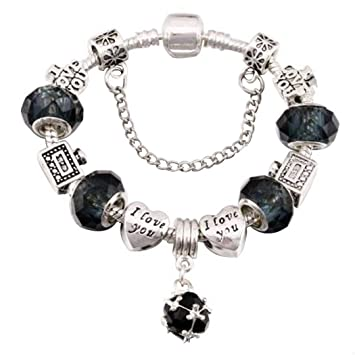 5424c72d86cd QWERST Bracelet Silver Plated Encanto Pulseras para Mujeres con Bonitas  Murano Original Fino Brazalete para Mujer Joyería Negro