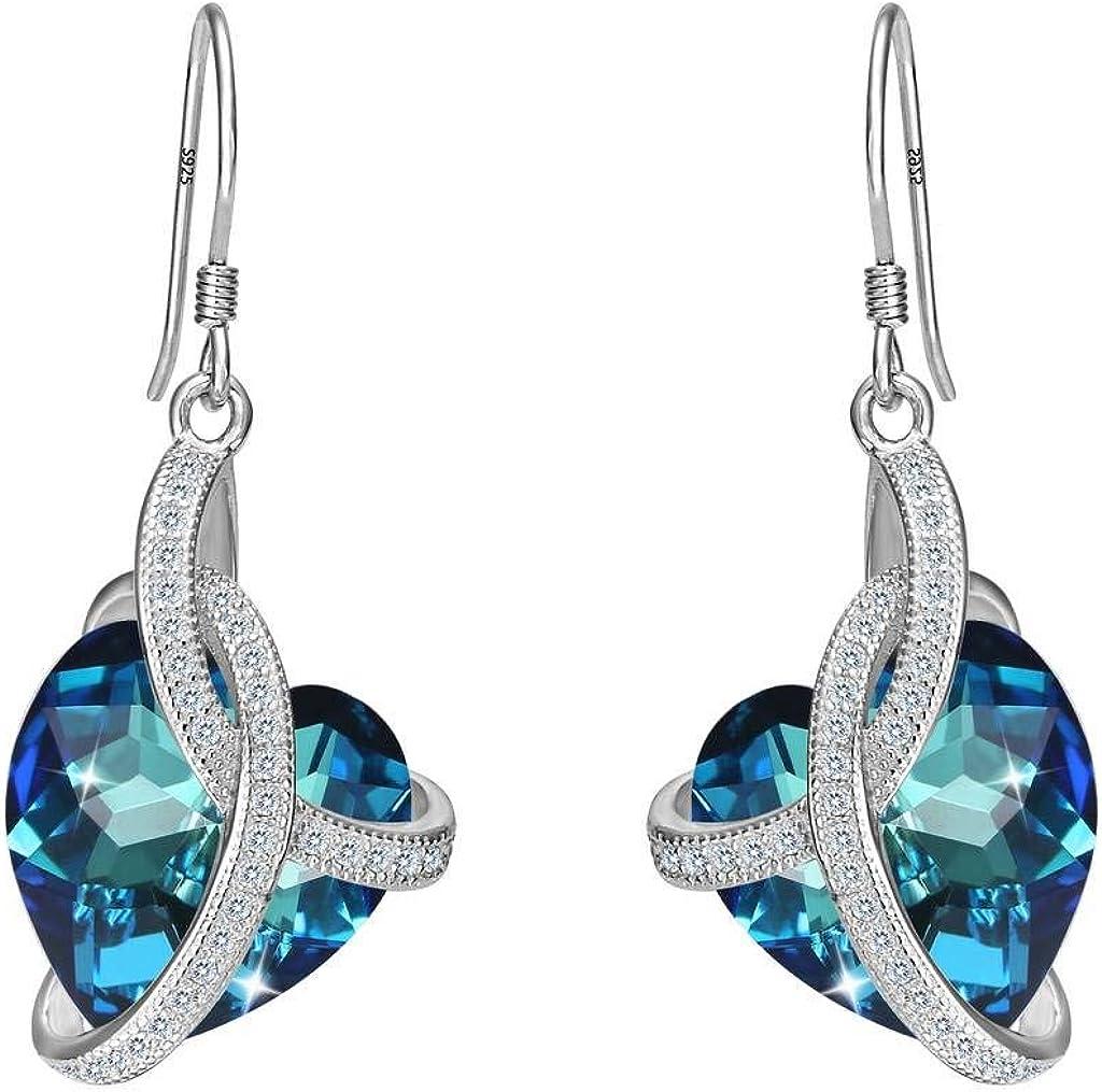 Pendientes Mujer - Clearine Aretes Plata 925 Corazón Amor Cruzado Cristal para Novia Boda Fiesta Regalo