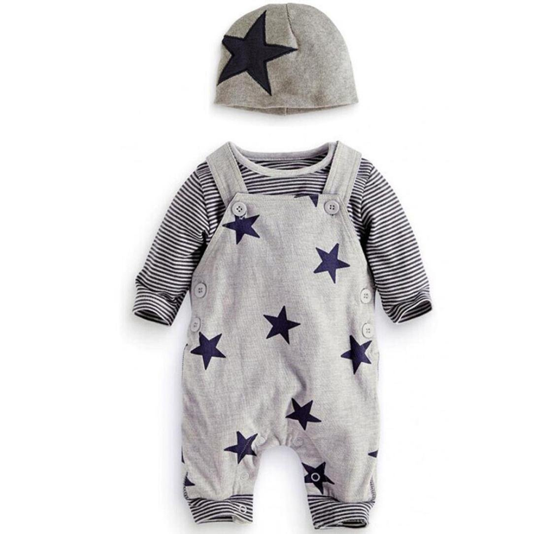 K-youth® 3PC/Set Recién Nacido Bebé Conjuntos Rayas manga larga Camisetas Pantalones de babero Sombrero para Bebé Niños Otoño Invierno Ropa K-youth113