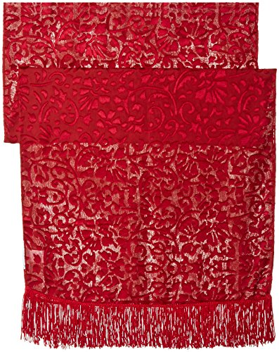Betsey Johnson Women's Burnout Evening Wrap with Fringe, Red, One - Johnson Evening Betsey