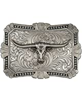Montana Silversmiths Men's Engraved Longhorn Buckle