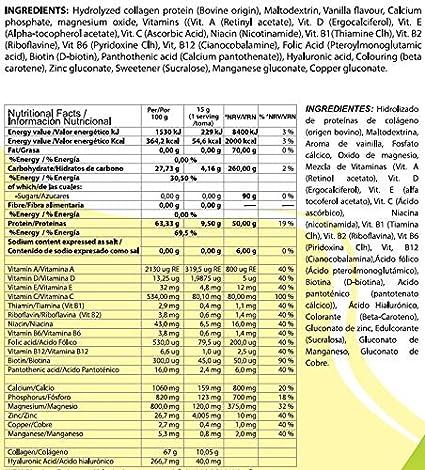 VNSup - Colágeno con Ácido Hialurónico (40mg) Magnesio Manganeso y Vitamina C, 450gr, Sabor Vainilla | Suplemento Regenerador de Tejidos y ...