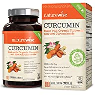 NatureWise Organic Curcumin Turmeric 2250mg with 95% Curcuminoids & BioPerine Black Pepper Extract, Advanced Absorption, Cardiovascular & Healthy Joints Support, Non-GMO, 180 Veggie Caps