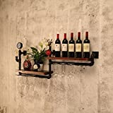 Retro Industrial Wind Decoration Wall Water Pipe Rack, Red Wine Wall Hanging, Wall-mounted Storage Rack
