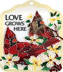 Joan Baker Designs TP1012 Tile Plaque, Cardinal/Love Grows Here, 6 by 7-Inch