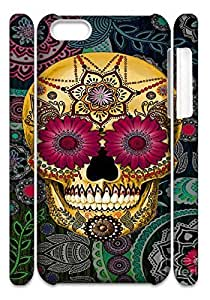 Personalize Artistic skeleton Cell Phone case iphone 5c,Cover for iphone 5c,Custom Flowers and skull Cover Case for iphone 5c moye-231859 at monye.