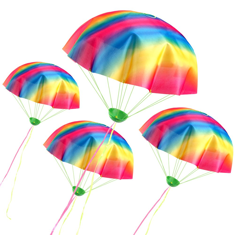 VAMEI 4 Pack Rainbow Parachute Toys Tangle Free Throwing Toy Kids Children Outdoor Game Party Favors