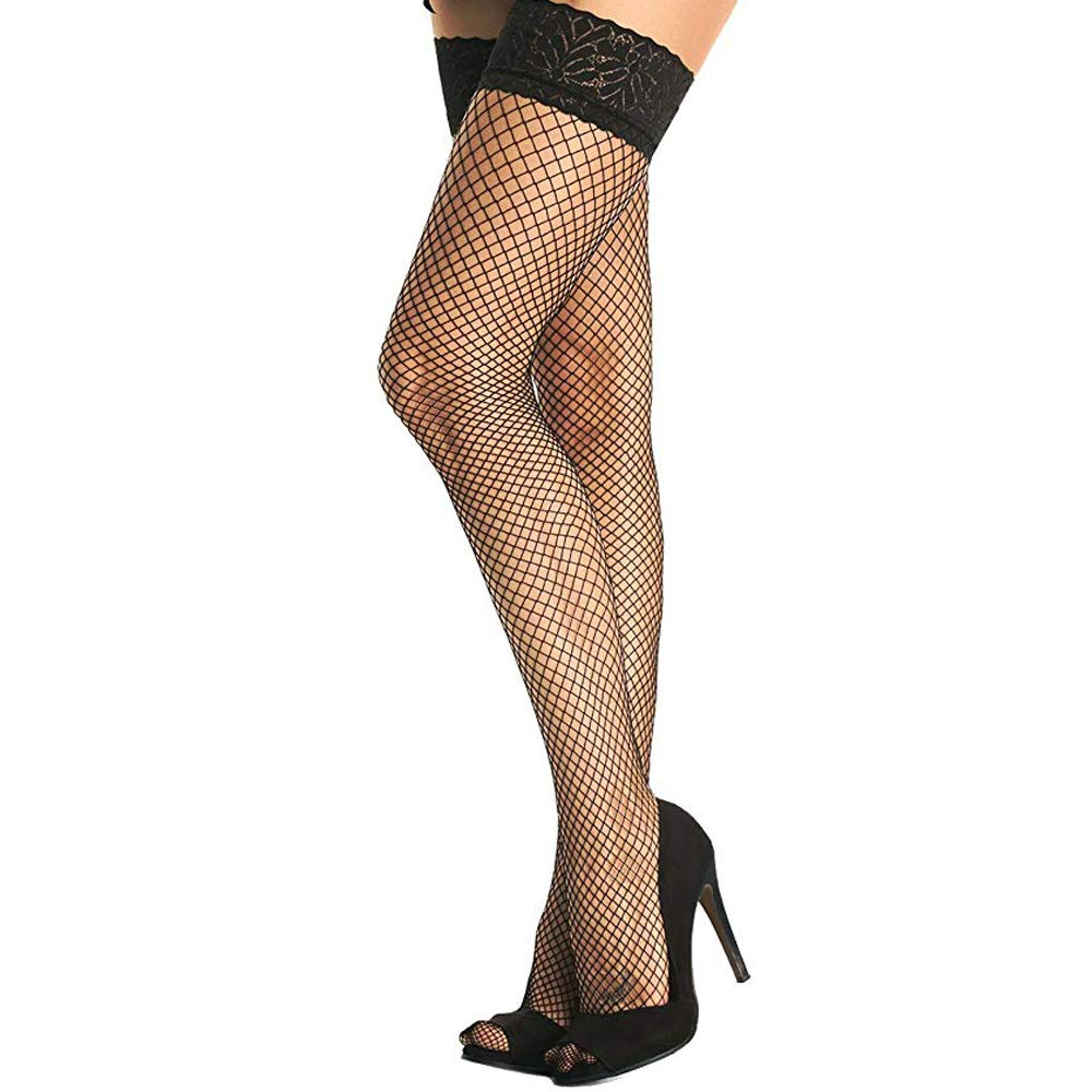 Women's 2 Pairs Fishnet Thigh High Lace Top Silicone Nylon Stockings
