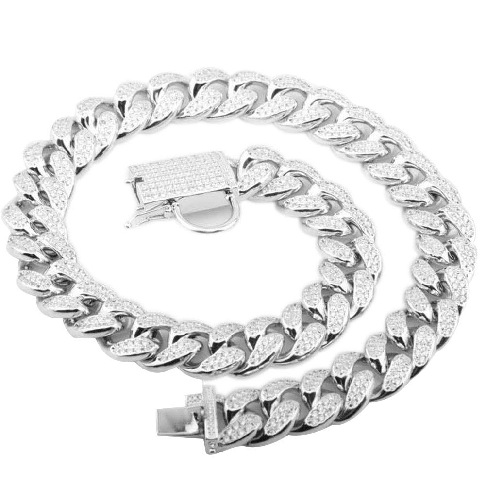 Petoo Dog Chain Necklace with Diamonds 18mm Brass Cuban Curb Link Lock Choke Collar Pet Supplies,Silver 20''