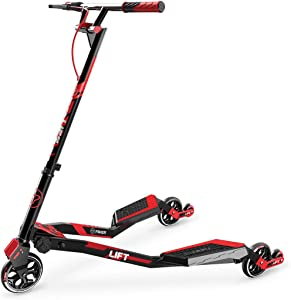Yvolution Y Fliker Lift | Swing Wiggle Carving Scooter for Kids Age 7+ (Red 2020)