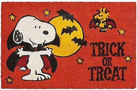 Nourison Peanuts 28-Inch x 18-Inch Halloween Trick or Treat Coir Door Mat in Orange