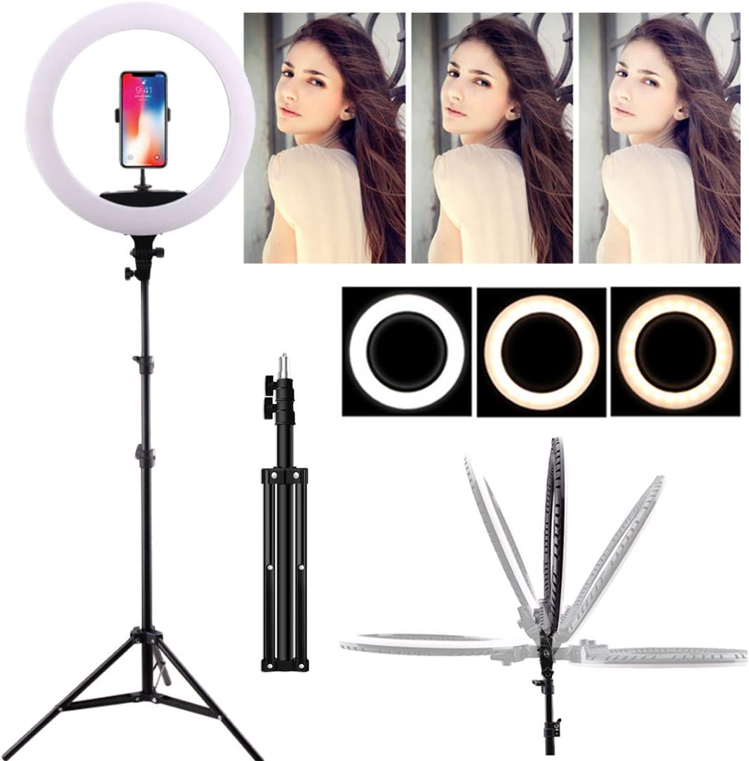 DLMPT Multifunction Ring Make Up Light with Tripod Stand and Phone Holders 3 Color Temperature Ringlight Make Up Light for Live Stream Makeup YouTube,1,160cm