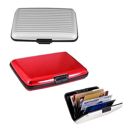 zhichengbosi Pack de 2 Tarjeta de crédito de aluminio cartera RFID bloqueo caso tarjeta de Crédito Titular para hombres y mujeres negocio tarjeta ...