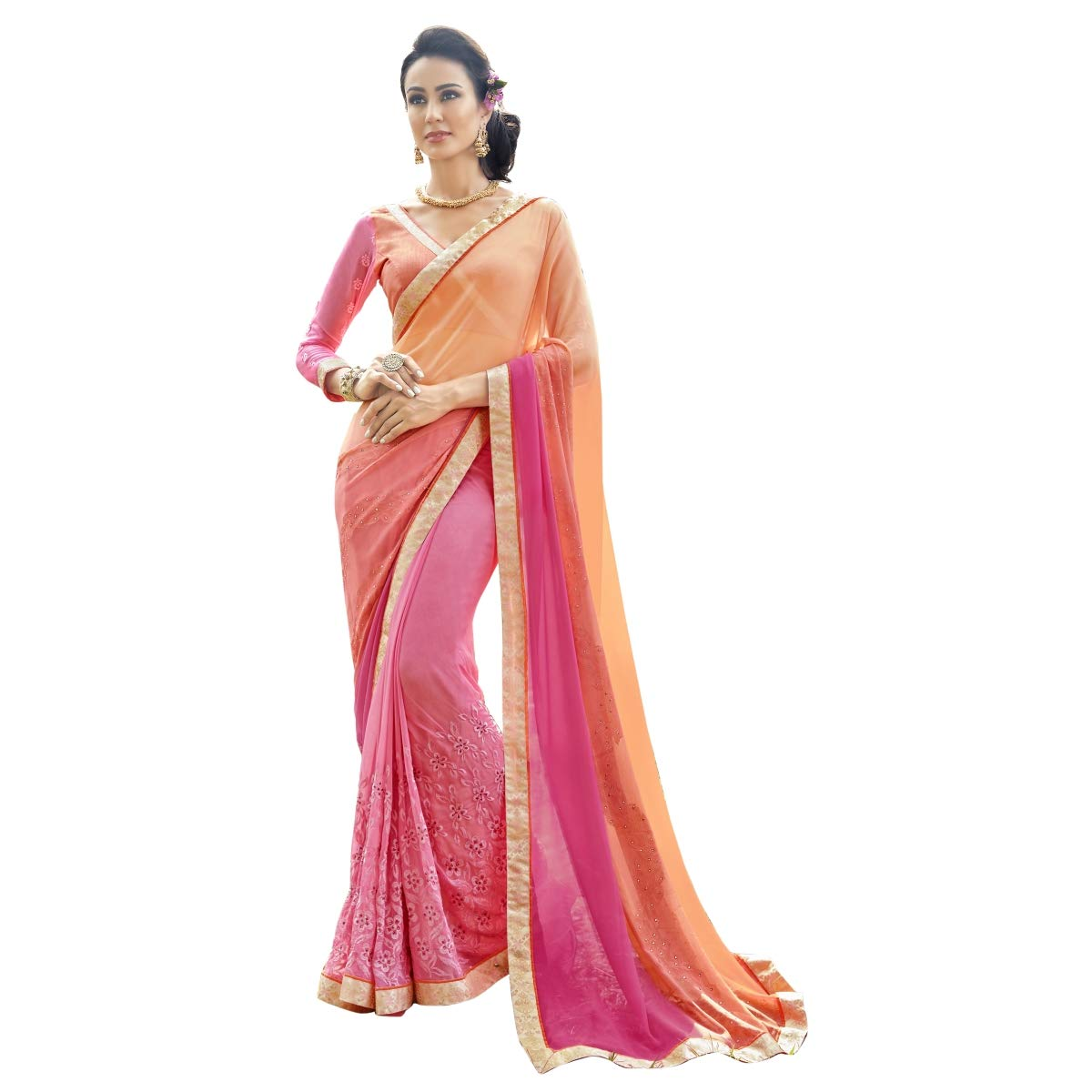 cb1d5acbe1 Triveni Saree Pink Color Pure Georgette Fabric Traditional Saree For Women:  Amazon.in: Clothing & Accessories