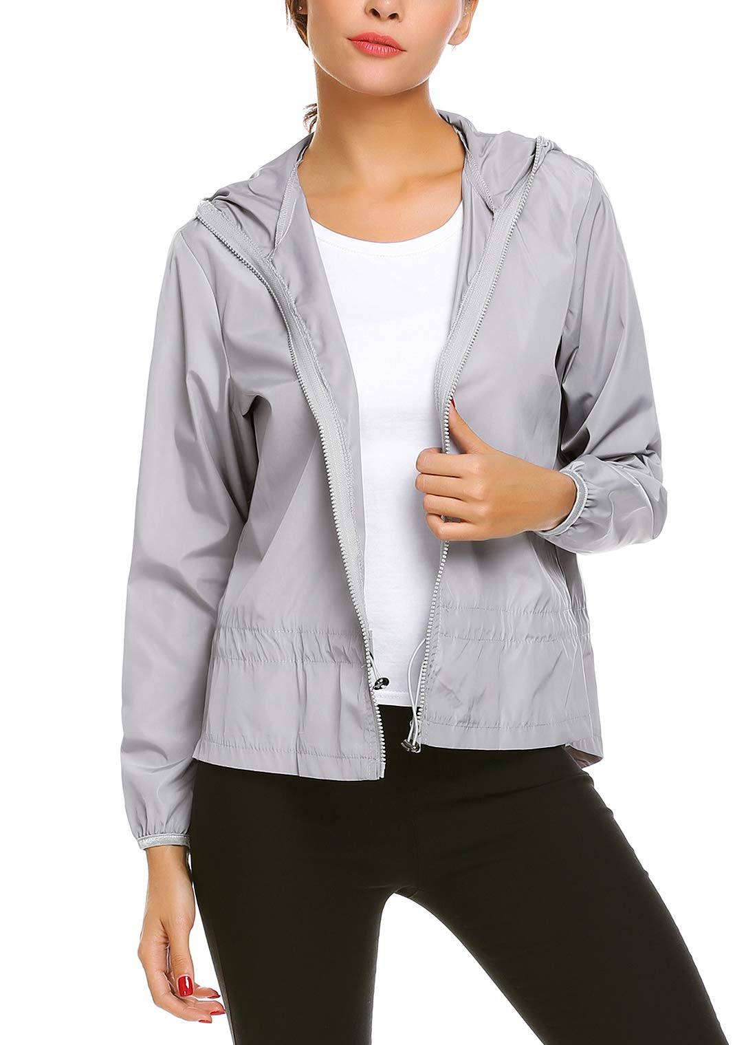 UNibelle Women's Lightweight Jacket UV Protect Quick Dry Windproof Skin Coat, 03-grey, Medium