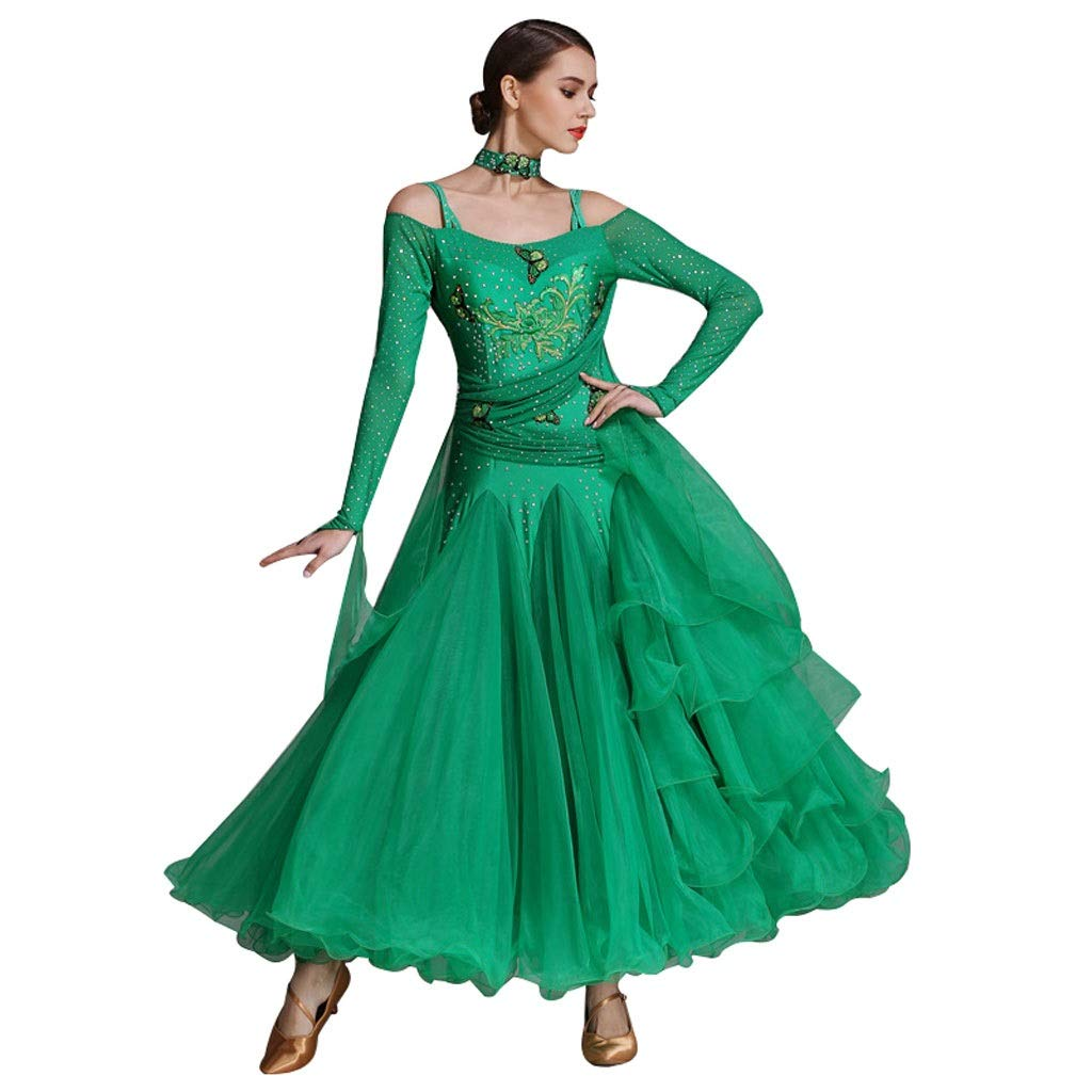 Green Standard Ballroom Dance Competition Dresses Long Sleeve Women,Modern Tango Smooth Waltz Dancewear suit