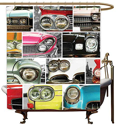 MaryMunger Polyester Fabric Shower Curtain 1960s Decorations Classic Cars Retro Automobile Collage Bumper and Headlights Classic Old Style City Vehicle Shower Hooks are Included W108x72L -