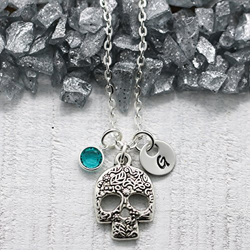 Sugar Skull Necklace for Women - Silver Sugar Skull Jewelry- Personalized Birthstone & Initial - Fast Shipping