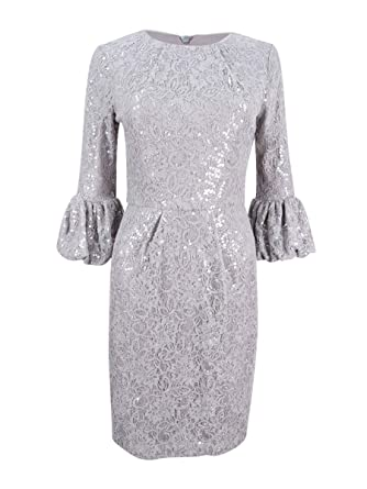 153b8ef1b598 Betsy & Adam Womens Lace Bell Sleeve Cocktail Dress Gray 10 at Amazon  Women's Clothing store: